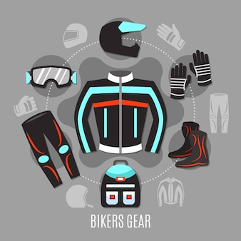 Conceito de engrenagem de motociclista