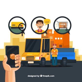 Conceito de entrega com caminhão e smartphone