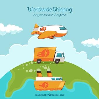 Conceito de entrega com diferentes transportes