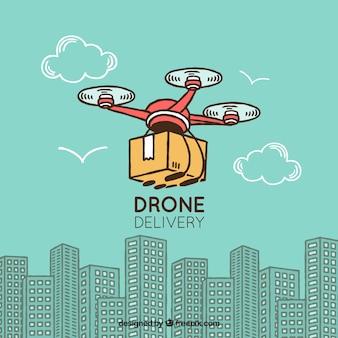 Conceito de entrega com drone desenhado a mão