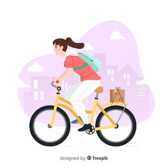 Conceito de entrega de bicicleta desenhada de mão