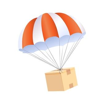 Conceito de entrega de caixa de pára-quedas. enviar serviço de remessa de pacotes.