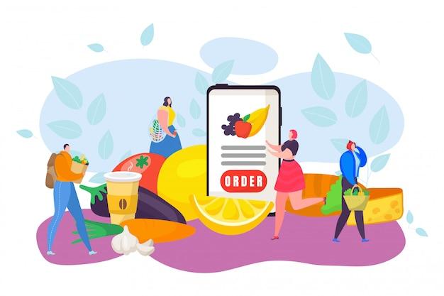 Conceito de entrega de comida, ilustração. serviço rápido on-line no aplicativo de celular, peça frutas e legumes.