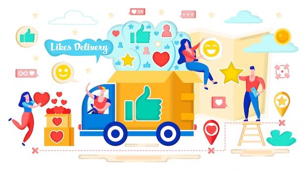 Conceito de entrega de corações, social media marketing.