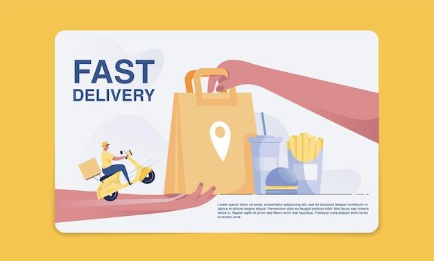 Conceito de entrega de fast food o pessoal de entrega entrega mercadorias aos clientes. receba um saco de papel de mão em mão. ilustração vetorial