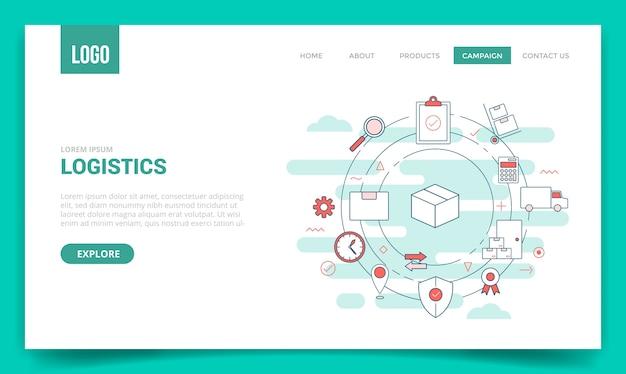 Conceito de entrega de logística com ícone de círculo para modelo de site ou página de destino