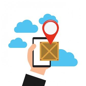 Conceito de entrega de logística e tecnologia