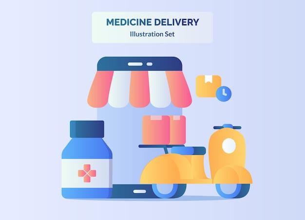 Conceito de entrega de remédios para motocicleta com caixa de farmácia