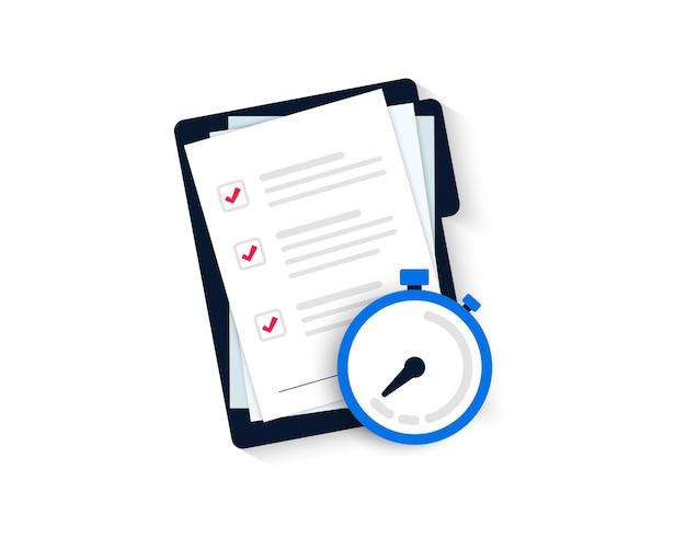 Conceito de entrega expressa. ícone do temporizador. símbolo de velocidade e tempo rápido. cronômetro, ícone de lista de verificação para serviço rápido e envio. pesquisa rápida. planejamento rápido e ícone de relógio.
