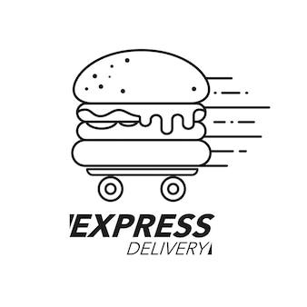 Conceito de entrega expressa. serviço de hambúrguer ou fast food, pedidos, envio rápido e gratuito. ícone de linha.