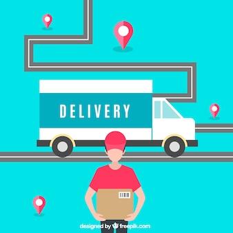 Conceito de entrega moderno com design plano