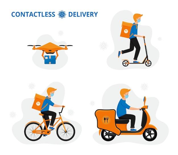 Conceito de entrega online: transportadores de scooter, bicicleta e drone