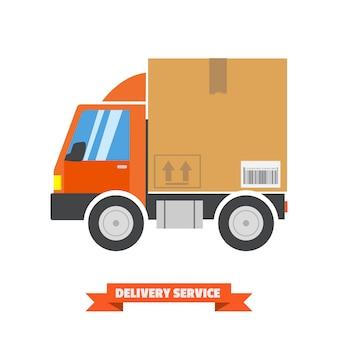 Conceito de entrega rápida. caminhão transportando um grande pacote de papelão.