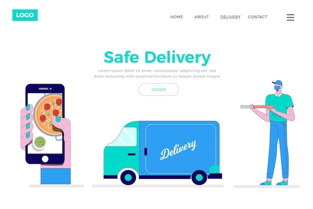 Conceito de entrega segura de alimentos