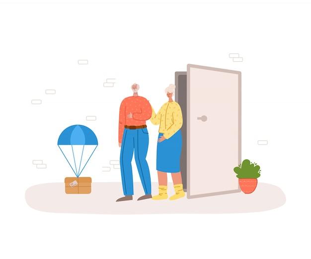 Conceito de entrega segura - entre em contato com menos entregas de encomendas da casa para a porta da frente, serviço de correio expresso para homens ou pessoas idosas