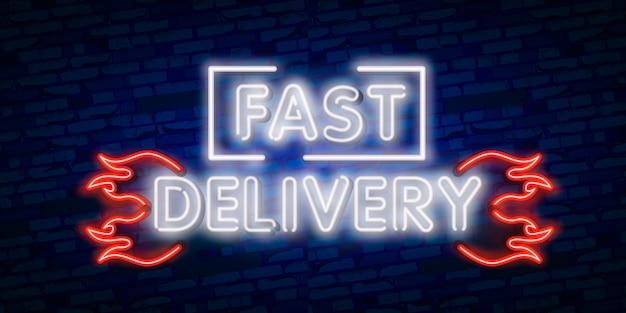 Conceito de entrega sinal de néon de modelo de design, luz banner, tabuleta de néon, publicidade nocturna brilhante, inscrição luz.