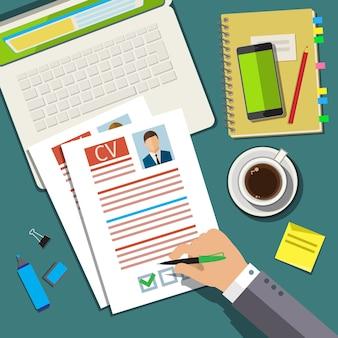 Conceito de entrevista de emprego com currículo de cv de negócios. design plano