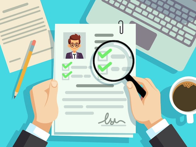 Conceito de entrevista de emprego. empresário cv currículo, avaliação do trabalho
