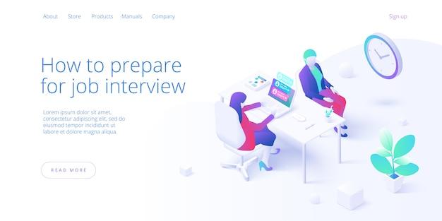 Conceito de entrevista de emprego na página de destino isométrica