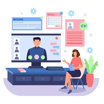 Conceito de entrevista de emprego on-line