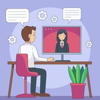 Conceito de entrevista de emprego online