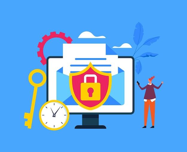Conceito de envelope de mensagem bloqueado de comunicação de internet web online de segurança