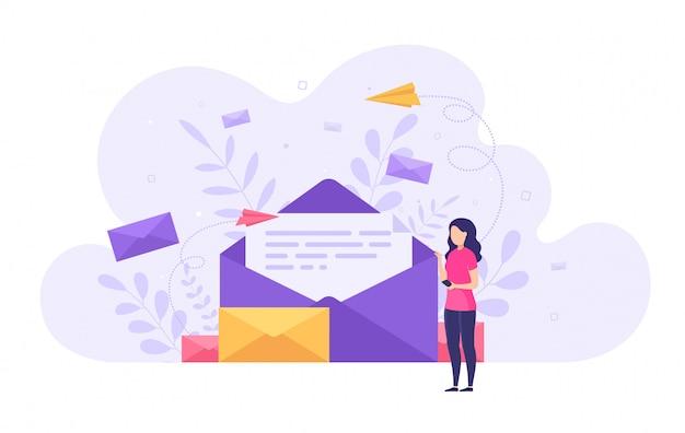 Conceito de envio e recebimento de mensagens de correio, rede social