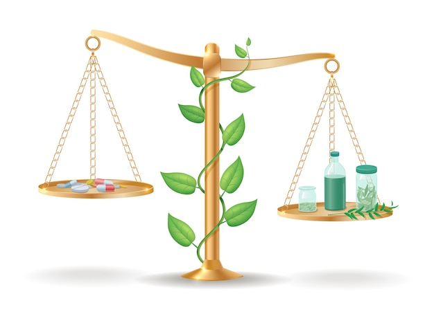 Conceito de equilíbrio de libra para medicina alternativa