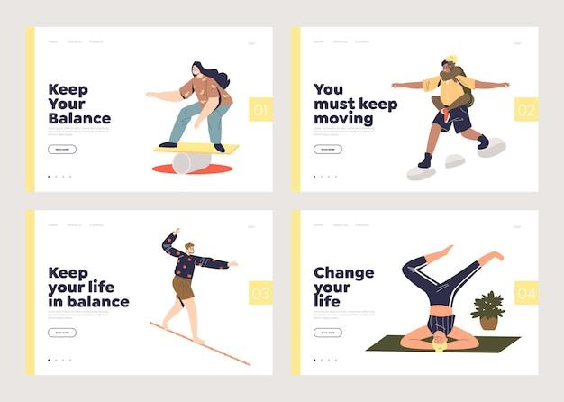 Conceito de equilíbrio de vida para conjunto de páginas de destino