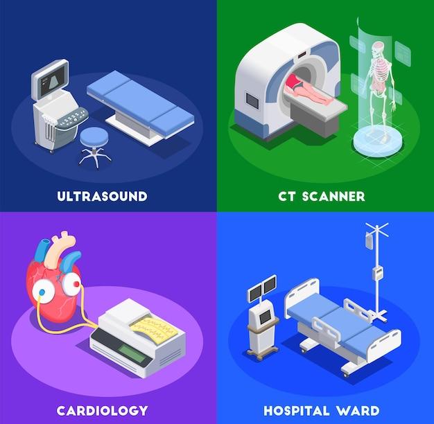 Conceito de equipamento médico com texto editável e imagens conceituais de instalações cirúrgicas de aparelhos médicos