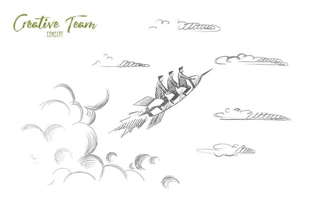 Conceito de equipe criativa. mão desenhada pessoas voando no foguete. conceito de inicialização, ilustração isolada de trabalho de equipe criativa.