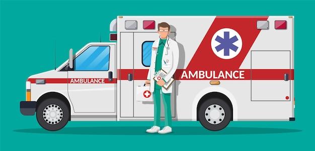 Conceito de equipe de ambulância