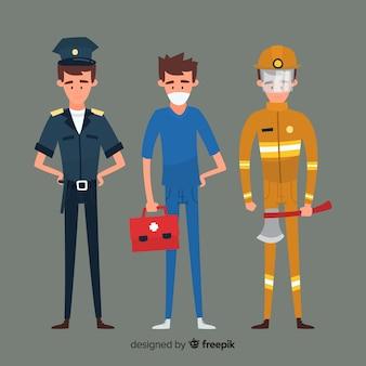 Conceito de equipe de emergência plana