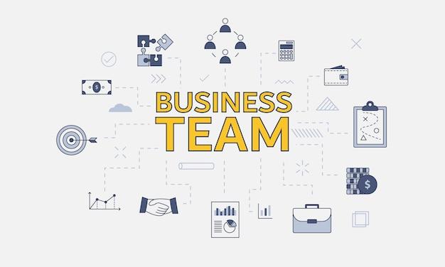Conceito de equipe de negócios com conjunto de ícones com grande palavra ou texto no centro Vetor Premium