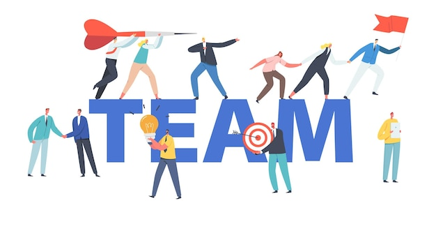 Conceito de equipe. personagens de negócios de mãos dadas subindo para o sucesso, líder com bandeira vermelha, crescimento de pessoas de negócios, trabalho em equipe, cartaz de liderança, banner ou folheto. ilustração em vetor desenho animado