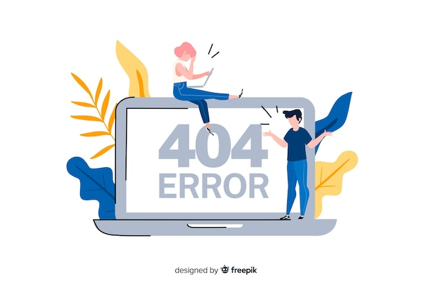 Conceito de erro 404 para a página de destino
