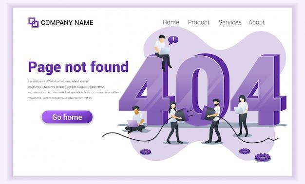 Conceito de erro 404. pessoas tentando corrigir erro na página do site perto de grande símbolo 404