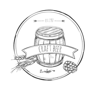 Conceito de esboço de cerveja artesanal