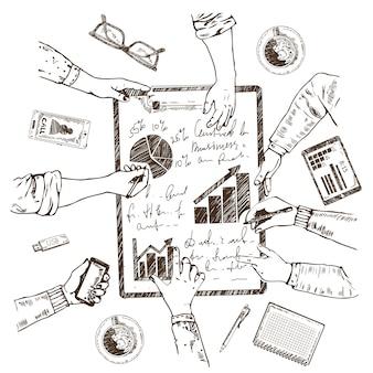 Conceito de esboço de planejamento de negócios