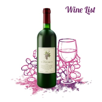Conceito de esboço de vinho