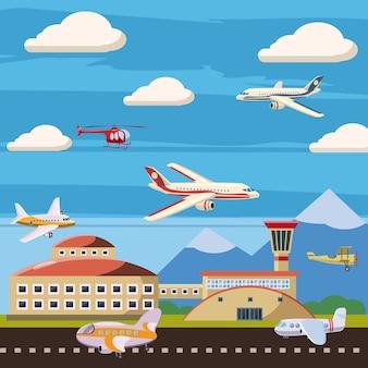 Conceito de escalão de aeroporto de aviação. ilustração dos desenhos animados do fundo de escalão do aeroporto de aviação