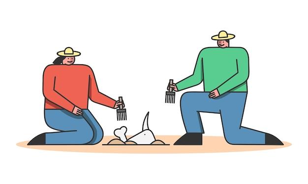 Conceito de escavação arqueológica