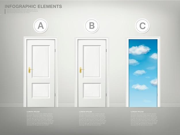 Conceito de escolha de design de modelo de infográfico com elemento de portas