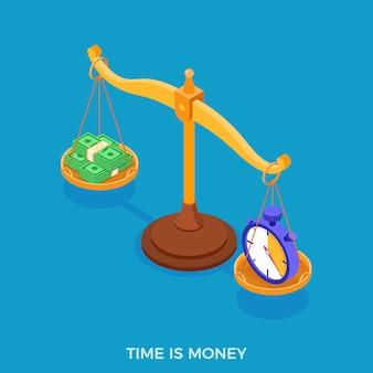 Conceito de escolha de tempo ou dinheiro
