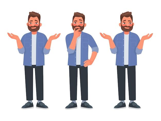 Conceito de escolha um homem barbudo pensa e escolhe a decisão certa entre duas opções v