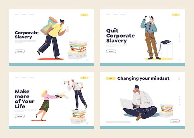 Conceito de escravidão corporativa e de escritório de páginas de destino definidas com gerentes de escritório sobrecarregados, trabalhadores sobrecarregados com tarefas e prazos.