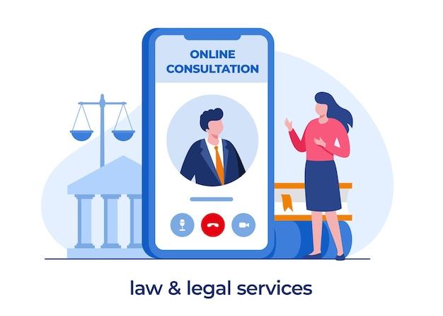 Conceito de escritório de advocacia e serviços jurídicos, consulta online, advogado, julgamento, vetor de ilustração plana