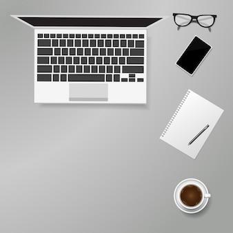 Conceito de escritório em casa plana leigo com copyspace, ilustração vetorial