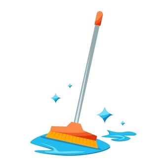 Conceito de esfregão com água de limpeza vassoura de cabo realista sinal de equipamento de limpeza de lavagem
