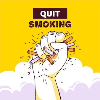 Conceito de esmagar cigarros na mão